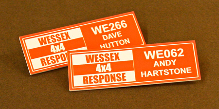 Wessex 4 x 4 Name Badge